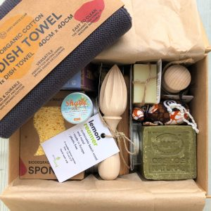 13 eco products within a recyclable keepsake box, wooden, plastic free, cardboard, neutral colours vegan